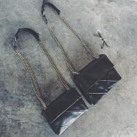 包包女潮韩版斜挎包个性菱格链条包复古小包 黑色 小号