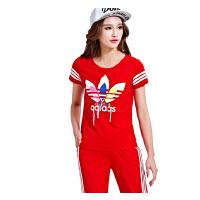 运动服 女 休闲运动套装 潮 修身两件套 新款 时尚 大码女 装