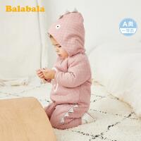 巴拉巴拉婴儿洋气连体衣宝宝冬装新生儿衣服爬爬服女童外出连帽厚