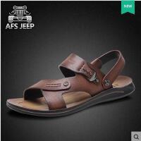 Afs Jeep/战地吉普男鞋 露趾凉鞋真皮沙滩鞋透气防臭休闲鞋男31821