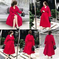 冬季系带呢子大衣女新款冬双面羊绒中长款红色结婚加厚毛呢外套潮