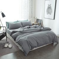 【官方旗舰店】纯棉纯色磨毛四件套1.8m床上用品 全棉床单床笠款被套三件套1.5米