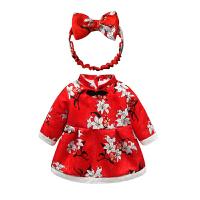 女宝宝加绒连衣裙秋加厚保暖婴儿公主裙洋气红色新年装女童裙子 红色 玉兰花加绒连衣裙