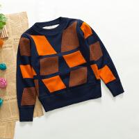 男童毛衣加绒加厚季 套头圆领儿童1-9岁双面打底针织衫宝宝保暖 桔色 四边形橙色