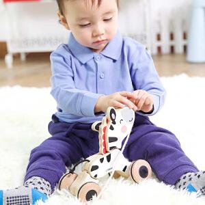 【当当自营】费雪 Fisher Price  拖拉斑马 学步婴幼儿手拉绳动物走步学步爬行木制玩具 FP1009