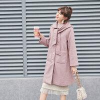 毛菇小象冬人字纹毛呢外套女中长款气质2019新款宽松甜美呢子大衣