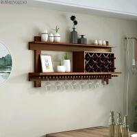 实木酒柜现代简约壁挂红酒架子餐厅置物架墙上时尚创意展示架定制 胡桃 1.6