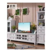 白色美式家具白蜡木纯实木电视柜现代简约客厅电视机柜茶几组合 整装