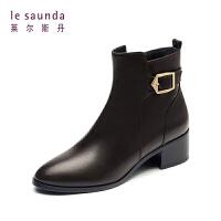 【到手参考价:372】莱尔斯丹 秋冬新款专柜款欧美时尚切尔西靴女短靴 8T45503