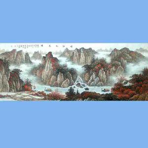 中国美术协会会员,广西省美术家协会理事,国家一级美术师蒋清(烟江秋色图2)