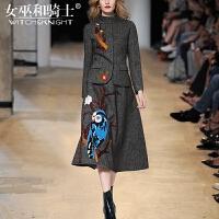 女巫2017秋冬新款欧洲站时尚毛呢外套半身裙洋气套装两件套女装潮