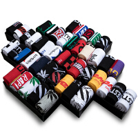 袜子男潮中筒长袜潮牌街头潮流纯棉长筒嘻哈枫叶篮球袜男士运动袜