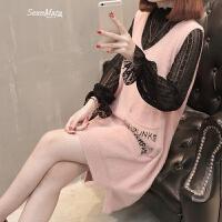 女装2018春装新款女士韩版时髦套装中长款两件套毛衣裙时尚百搭潮