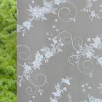 玻璃贴膜防晒隔热遮阳窗户家用贴纸黑色全遮光玻璃贴纸窗帘膜, 乳白色 花语90厘米*2米