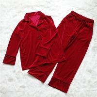 欧美睡衣女秋冬外穿新款睡衣两件套装家居服金丝绒睡衣女长袖长裤
