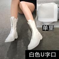 欧美2018秋冬新款白色前拉链短靴做旧自然皱女皮靴粗跟圆头中筒靴