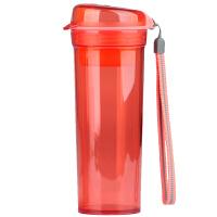 特百惠水杯 晶彩400ml随手杯子塑料便携防漏创意学生男女时尚茶杯 石榴红