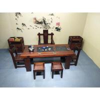 功夫茶几客厅小茶桌老船木茶桌现代客厅复古功夫茶台实木茶几阳台小桌子泡茶桌椅 整装