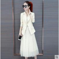 韩版西装套装女装时尚两件套裙子潮网纱连衣裙女长袖春装新款