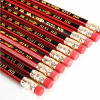 中华牌6151铅笔上海中华学生木制铅笔HB铅笔橡皮头铅笔10支装学生用品 橡皮头铅笔