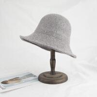 盆帽女春秋冬季韩版潮休闲复古百搭羊毛呢小礼帽日系大沿可折叠渔夫帽