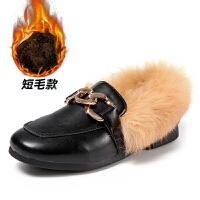 2017秋新款儿童棉鞋韩版兔毛女童皮鞋加绒保暖豆豆鞋宝宝公主鞋
