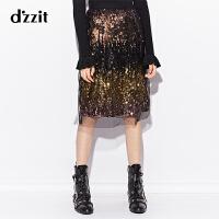 dzzit地素 18冬装新款复古松紧腰渐变珠片网纱半身裙女3F4S4135G