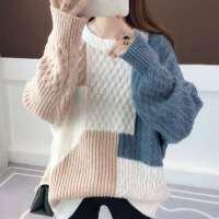 新款时尚女装潮粗线毛衣女套头宽松外穿风秋冬加厚打底衫
