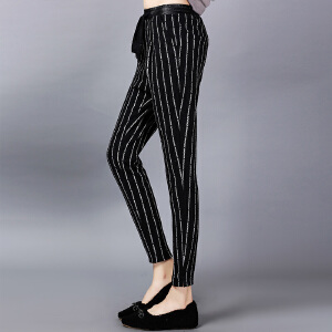 �莱2017春装新款百搭条纹休闲裤长裤