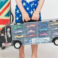 大货车玩具货柜车儿童玩具小汽车合金模型套装手提收纳箱运输卡车