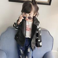 女童童装皮衣2018春装新款韩版中小童印花拉链皮革外套上衣夹克潮 如图