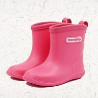 20190814124406806新款儿童雨鞋纯色中筒防滑底雨靴撞色男女童防滑套鞋学生水鞋套鞋