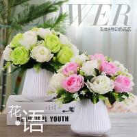包邮带陶瓷花瓶假花仿真花客厅装饰画客厅摆设装饰品盆栽玫瑰套装