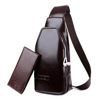 男士胸包户外休闲斜挎包挂包真皮男包腰包潮时尚单肩包运动小背包 668 棕色送钱包