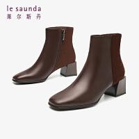 莱尔斯丹19秋冬新款方头粗跟拼接帅气百搭黑色短靴女靴AT46703