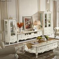 家具欧式双门酒柜电视柜组合实木法式单双门客厅柜玻璃柜家具 全实木雕刻+珍珠白烤漆 双门