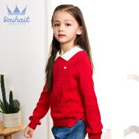 【1件5折 到手价:99.5元】水孩儿(SOUHAIT)女童线衣2018秋冬新款儿童上衣女套头毛衣圣诞红色针织衫AMDQL452
