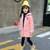 女童毛呢外套2017新款童装6儿童7装8韩版9加厚呢子大衣10加绒12 粉红色 偏浅