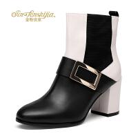 金粉世家 红蜻蜓旗下 冬季新款真皮短靴女粗跟方扣优雅女靴短筒靴
