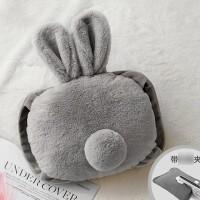 可爱毛绒充电式热水袋暖水袋暖宝宝卡通暖手宝暖敷肚子女保暖生活日用 兔尾巴-灰色 可拆洗