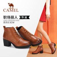 骆驼女鞋 冬季新品短靴马丁靴瘦瘦靴真皮韩版高跟时尚女靴子
