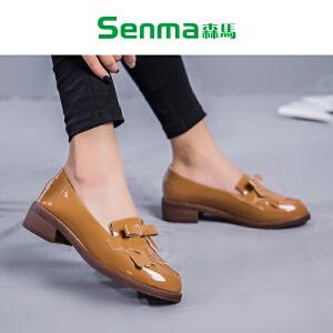 森马2017秋季一脚蹬小皮鞋女日系学院风平底复古流苏莫卡辛鞋单鞋