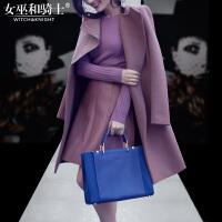2017冬装新款欧美时尚名媛简约毛呢大衣中长款外套套装A字裙女潮
