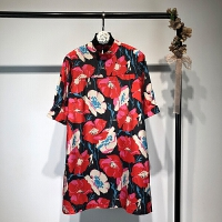 碎花薄款连衣裙 2018春款欧美风红色印花显瘦修身打底短裙连衣裙