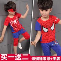 夏装童装奥特曼衣服男童儿童超人蜘蛛侠套装男孩短袖小孩帅气夏天