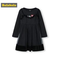 巴拉巴拉童装女童连衣裙儿童裙子2019新款秋装甜美复古中国风公主裙女