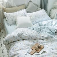 棉四件套纯棉田园清新被套床单1.2m女学生宿舍床上三件套