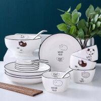 可爱陶瓷卡通猫咪碗套装 家用4人创意简约日式碗碟碗盘筷餐具组合