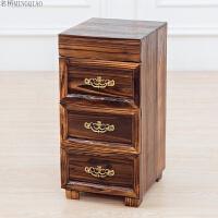 欧式三斗柜实木储物收纳柜家用抽屉柜子小户型3斗橱床头柜美甲柜 整装