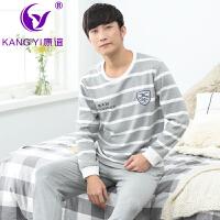 香港康谊2017新品春秋季新款男士睡衣色织纯棉长袖条纹男士全棉家居服套装